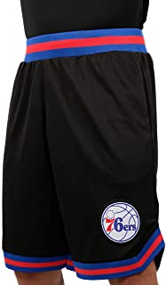 Ultra Game NBA Philadelphia 76ers Men's Mesh Basketball Shorts Woven Active Basic, X-Large, Black