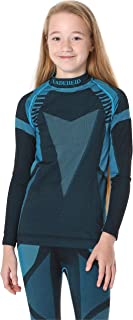 Ladeheid Camiseta Térmica Mangas Largas Ropa Interior Unisexo Niños LASS0007 (Negro/Turquesa, 146-152)