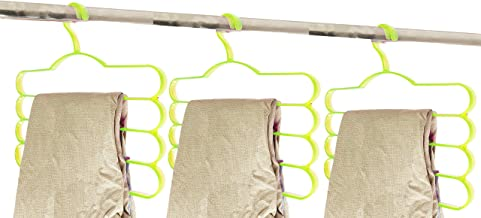 Pants Slacks Scarf Hangers by House of Quirk 3pc Trousers Towels Clothes Apparel Hangers 4-Layer Space Saving (Green)