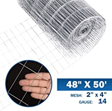 Fencer Wire 14 Gauge Galvanized Welded Wire Mesh Size 2 inch by 4 inch (4 ft. x 50 ft.)