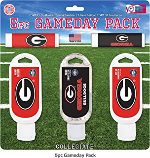 Worthy Promo NCAA Georgia Bulldogs 5-Piece Game Day Pack with 2 Lip Balms, 1 Hand Lotion, 1 Hand Sanitizer, 1 SPF 30 Sport Sunscreen