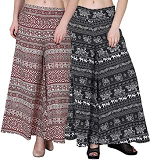 Fablab Women's/Girl's Printed Crepe A-Line wide leg divider Palazzo Trousers with Pocket & Inner Lining Combo Pack of 2(FLPLCRP2-7,Cream Red Printl,Black Elephant,Size-XL)