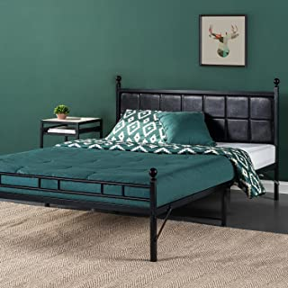 Zinus Sumit Metal Platform Bed / Bed Frame with Faux Leather Square Stitched Upholstered Headboard, Full