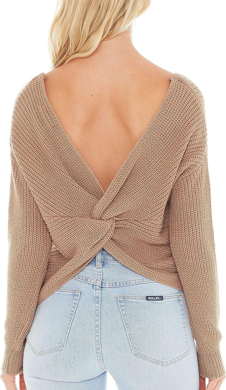 Love Tree Women's Deep V Neck Sweater Top - Long Sleeve Waffle Knit Wrap Pullover Sweater