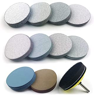 3 Inch Assorted Grits White Dry & Waterproof(Wet/Dry) Hook & Loop Sanding Discs with 1/4 inch Shank Sanding Pad + Soft Foam-Backed Interface Buffer Pad, Total 100 Discs