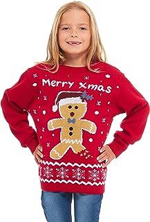 UK 7-13 Comfiestyle New Childrens Star Bambi Deer Christmas Novelty Jumper Kids Sweater Top