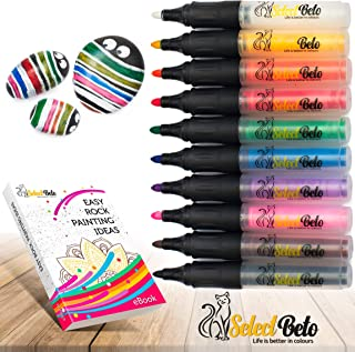 Acrylic Paint Pens for Rock, Stone, Ceramic, Glass, Mugs, Wood, Metal, Fabric, Canvas - Set of 10 Paint Markers Medium Tip + Stencil for YOU