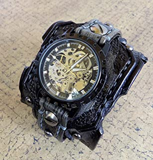 Skeleton Leather Watch, Steampunk Watch Cuff, Men's watch, Leather Wrist Watch, Leather Cuff, Bracelet Watch, Distressed watch strap
