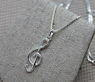 Colgante clave de sol, colgante de nota musical, colgante plata 925, collar de cadena, collar plata esterlina, colgante de...