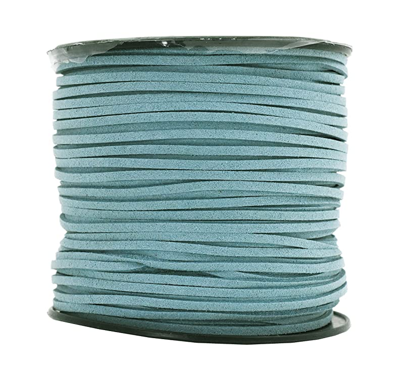 Mandala Crafts 100 Yards 2.65mm Wide Jewelry Making Flat Micro Fiber Lace Faux Suede Leather Cord (Dusty Blue)