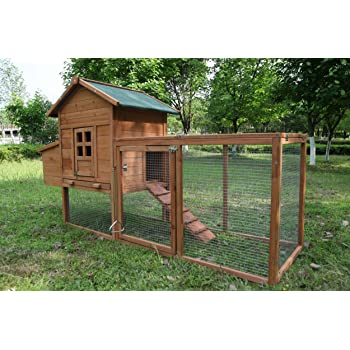 ECOLINEAR Outdoor 80'' Wooden Chicken Coop Nest Box Hen House Poultry Pet Hutch Garden Backyard Cage (Chicken Coop)