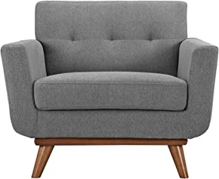 Modway Engage Mid-Century Modern Upholstered Fabric Accent Arm Lounge Chair in Expectation Gray