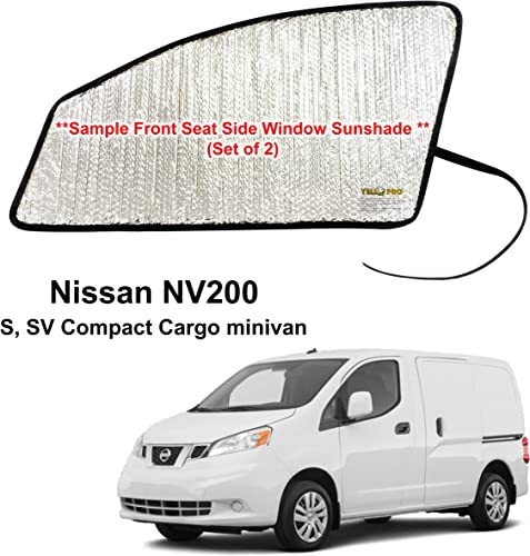 discount Side Window Front Seat Reflective Sunshade Custom Fit for 2014 2015 2016 2017 2018 2019 2020 2021 Nissan sale NV200, S, SV Compact Cargo Minivan Van, discount UV Reflector Sun Protection Accessories (Set of 2) outlet sale