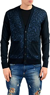 Men's Wool Blue Animal Print Cardigan Sweater US M IT 50
