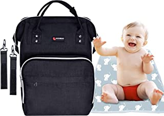 Diaper Bag Backpack – Large Waterproof Unisex Baby Bag – Insulated Wide Pockets – Changing Pad Included – Black