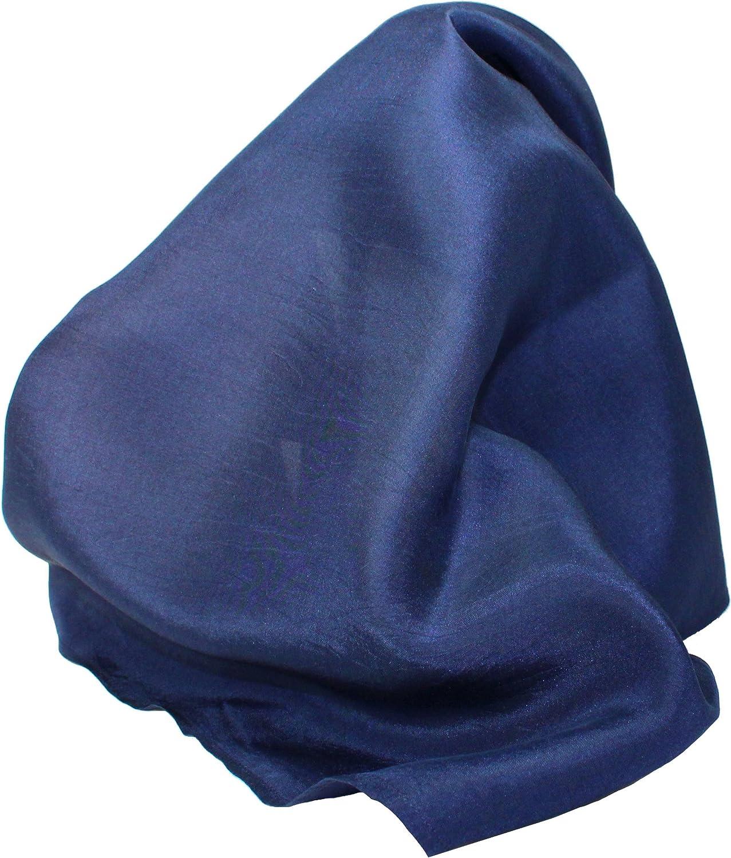 Classic Navy Blue Silk Handkerchief - Full-Sized 16