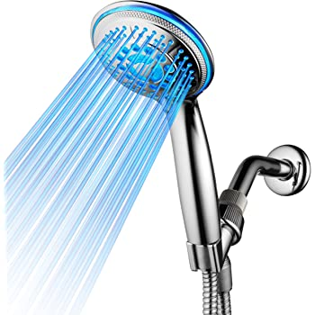 DreamSpa All Chrome Water Temperature Controlled Color Changing 5-Setting LED Handheld Shower-Head by Top Brand Manufacturer! Color of LED lights changes automatically according to water temperature