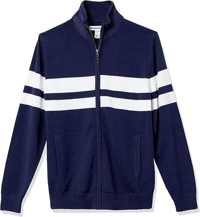 70s Jackets, Furs, Vests, Ponchos Amazon Essentials Mens Full-Zip Cotton Sweater  AT vintagedancer.com