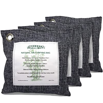 Ebbson Home Styles Naturally Activated Bamboo Charcoal Air Purifying Bags 200g set of 4
