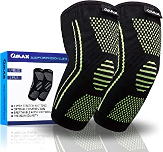 OMAX Elbow Compression Sleeve - Elbow Support for Tendonitis Arthritis, Elbow Pain, for Tennis, Golf, Volleyball, Baseball, Basketball, Workout, Gym, Weightlifting, Bodybuilding and Sports - 2 Pack
