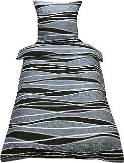 Leonado Vicenti Mikrofaser Seersucker Bettwäsche 135x200 cm 2-Teilig Bettwaren Kissenbezug Bettbezug (Welle Grau)