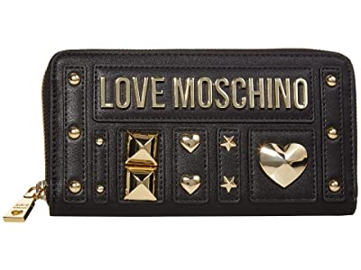 LOVE Moschino Love and More Zip Wallet (Black PU) Handbags