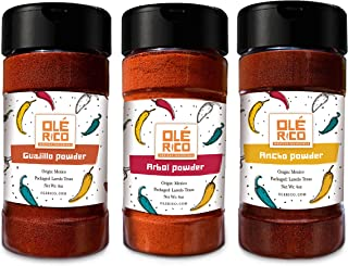 Chile Powder 3 Pack Bundle - Ancho, Guajillo And Arbol Set Holy Trinity Of Chile Peppers by Ole Rico