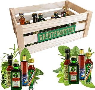 Creofant Luxus Kräutergarten  Witzige Geschenkidee für Männer und Frauen mit Alkohol  8 x Kräuter-Likör  Echtholzkiste mit echt aussehendem Kunstrasen