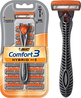 BIC Comfort 3 Hybrid Men's 3-Blade Disposable Razor, 1 Handle and 12 Cartridges