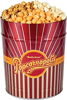Popcornopolis Gourmet Popcorn 3.5 Gallon Tin - Classic Including Caramel, Cheddar and Kettle Corn