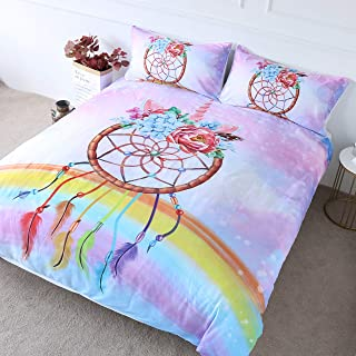 BlessLiving Girls Unicorn Bedding Duvet Cover Sets Pastel Blue Purple Pink Bedding Kids Teens Rainbow Printed Dream Catcher Bed Set 3 Piece Bohemian Floral Comforter Cover Sets (Twin)