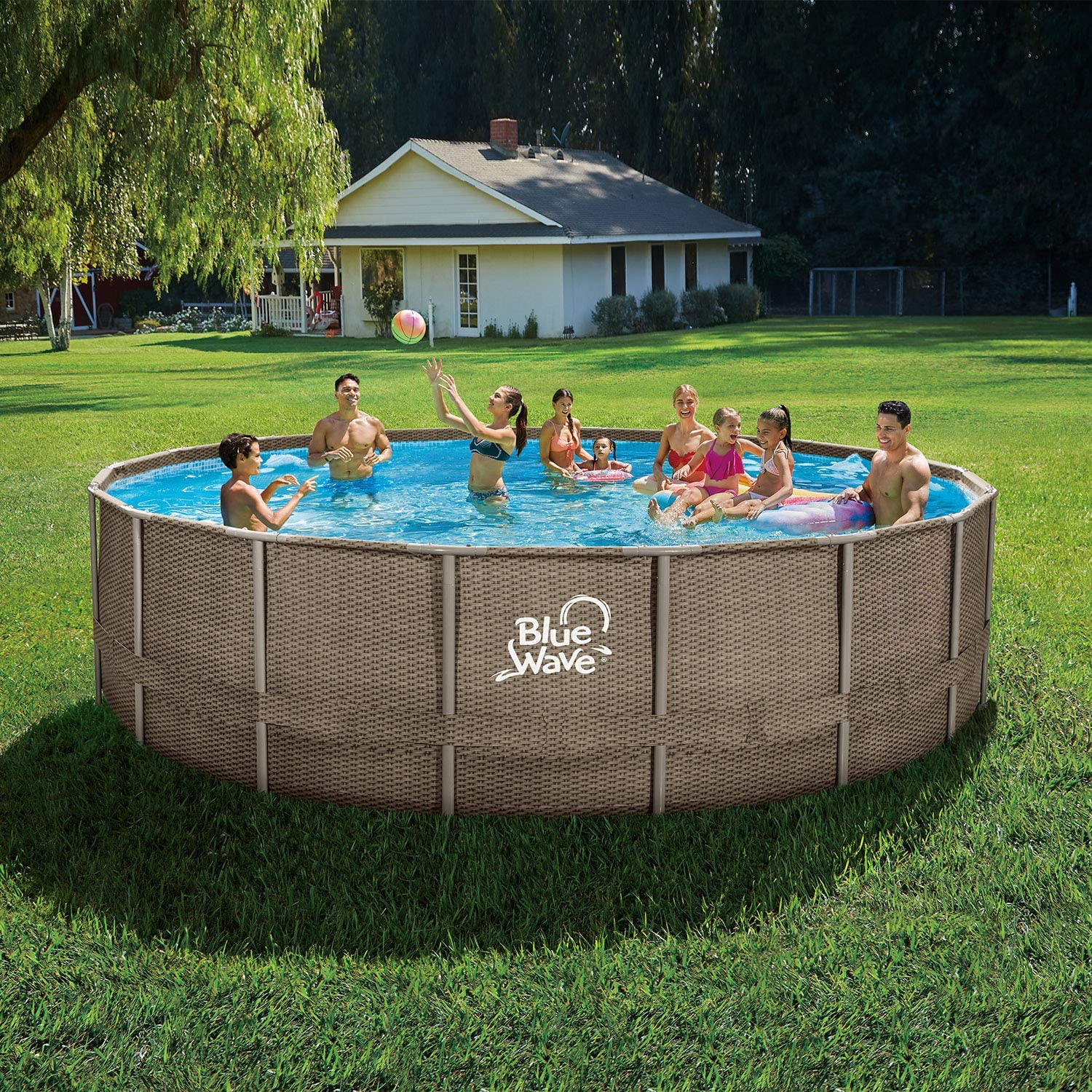 Brown x Blue Wave NB19798 24-ft Round 52-in Deep Dark Cocoa Wicker Frame Package Above Ground Swimming Pool