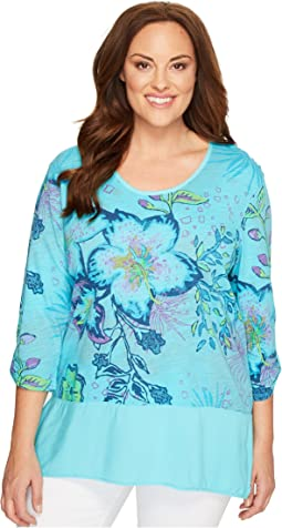 Extra Fresh by Fresh Produce - Plus Size Cabana Bright Windfall Top