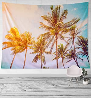 Blackrock Sunset Palm Tree Tapestry - Large 6 ft Hawaiian Beach Tropical Nature Wall Hanging Decor for College Dorm Room Hawaii Leaf Theme