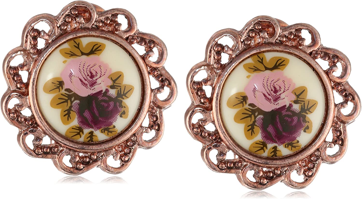 1928 Jewelry Manor House Rose Gold-Tone Clip-On Earrings