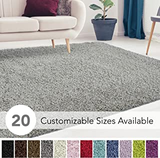 iCustomRug Cozy and Super Soft Plush Solid Shag Rug Ideal to Enhance Your Living Room and Bedroom Decor in 13 Colors / 20 Custom Sizes 8' X 10' Grey