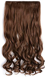 """OneDor 20"""" Curly 3/4 Full Head Synthetic Hair Extensions Clip on/in Hairpieces 5 Clips 140g (12#-Light Brown)"""