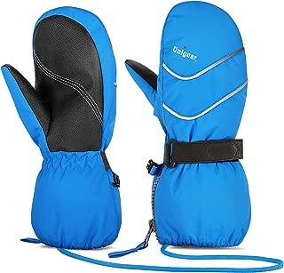 blue ski mittens