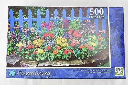 muchas concesiones Puzzlebug Puzzlebug Puzzlebug Puzzles 500 pc Colorful Flowers Along Fence  Tu satisfacción es nuestro objetivo