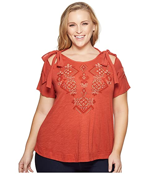 677a6c71b46db Lucky Brand Plus Size Embroidered Tie Shoulder Top at Zappos.com