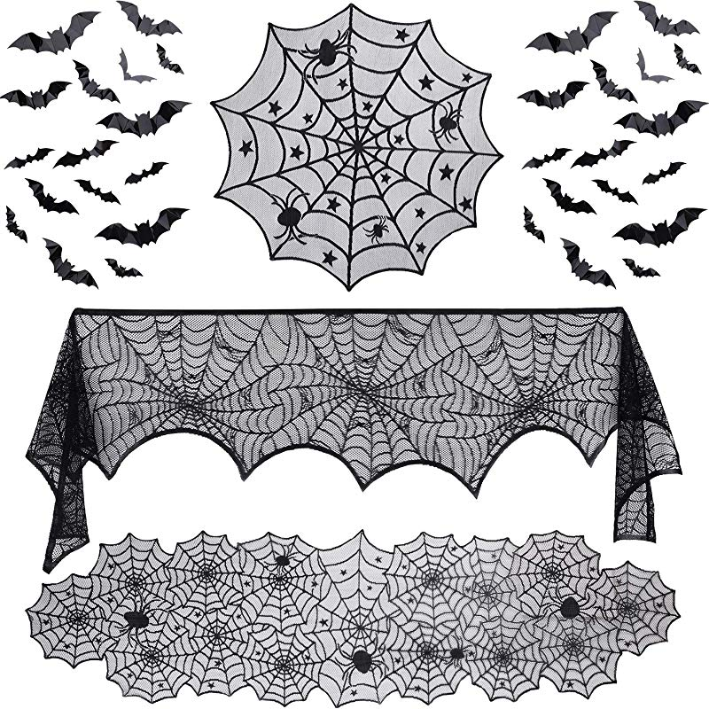 35 Pieces Halloween Decorations Set Include Lace Spider Web Table Runner Round Lace Table Cover Fireplace Mantel Scarf And 32 Pieces 3D Bats Wall Sticker Decal