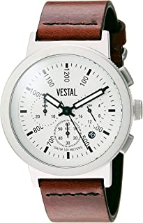 Vestal Retrofocus Chrono Stainless Steel Japanese-Quartz Watch with Leather Calfskin Strap, Brown, 0.85 (Model: SLRCL001)
