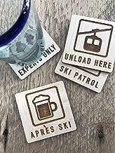Mountain Ski Chalet Set of 4 Wood Coasters | Experts Only, Unload Here, Ski Patrol, Apres Ski | Winter Sports Snowboard Present