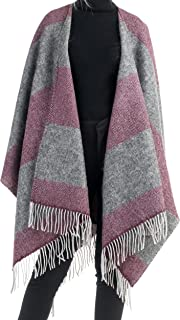 Angiola Made in Italy Women 100% Wool & Mohair Natural Fibers Cape Poncho Wrap Made In Italy Warm Soft Comfy Cozy