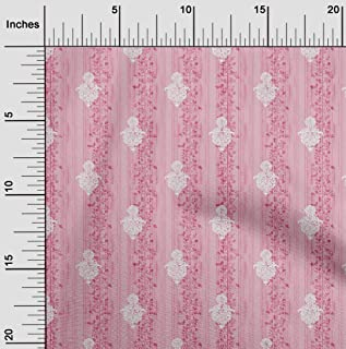 oneOone Viscose Jersey Light Pink Fabric Stripe,Leaves & Floral Block Sewing Material Print Fabric by The Meter 60 Inch Wide