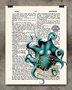 Stretch Aqua Octopus Vintage Dictionary Art Print Wall Gold Foil 8