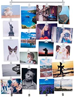 BHG You-Have-Space Hanging Picture Display Photo Holder with 4 Metal Cable Strings and 20 Magnetic Clips Metal White