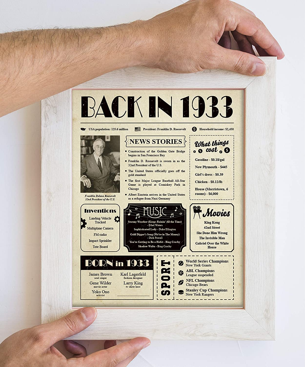 Woman Under 10 Dollars Back in 1920 Poster Newspaper Unframed 8x10 //// 100th Birthday Gift for Women Gift Idea for 100 Year Old Man Dad Grandpa Grandma Birthday Decorations Vintage for Mom Men