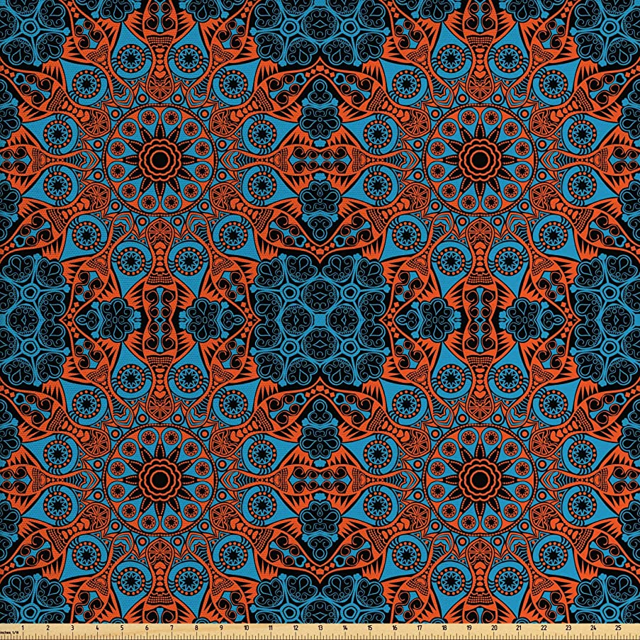Ambesonne Mandala Fabric by The Yard, Ornate Lace Chinese Pattern Circles Swirls and Dots Flower Illustration, Decorative Fabric for Upholstery and Home Accents, 2 Yards, Blue Vermilion Black