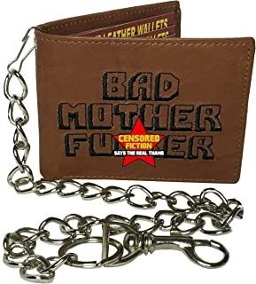 BMF 刺繍入り本革財布 ブラウン財布 チェーン付き